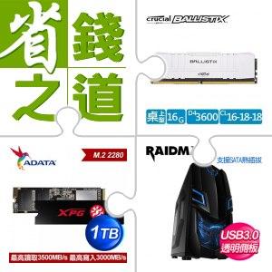 ☆自動省★ 美光 Ballistix 16G DDR4-3600 美光超頻 E-Die 桌上型記憶體《白》(X2)+威
