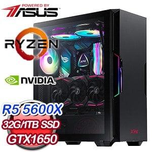 華碩系列【波幻迷掌】AMD R5 5600X六核 GTX1650 電玩電腦(32G/1T SSD)