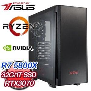 華碩系列【銀川劍流】AMD R7 5800X八核 RTX3070 電競電腦(32G/1T SSD)