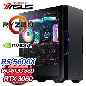 華碩系列【金鑽鳳梨】AMD R5 5600X六核 RTX3060 電玩電腦(16G/512G SSD)