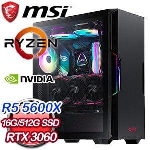 微星系列【釋迦鳳梨】AMD R5 5600X六核 RTX3060 電玩電腦(16G/512G SSD)