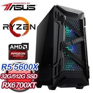 華碩系列【ALLEGORY】AMD R5 5600X六核 RX6700XT 電玩電腦(32G/512G SSD)