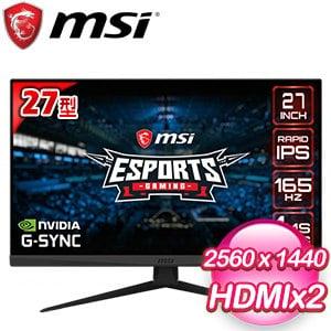 MSI 微星 Optix G273QF 27型 IPS 165Hz 2K超窄邊框電競螢幕