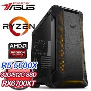 華碩系列【ALLURING-I】AMD R5 5600X六核 RX6700XT 電玩電腦(32G/512G SSD)