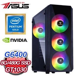 華碩系列【魅影突襲I】G6400雙核 GT1030 電玩電腦(8G/480G SSD)