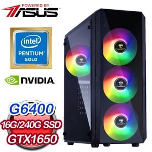 華碩系列【橫刀霸斬I】G6400雙核 GTX1650 電玩電腦(16G/240G SSD)