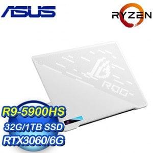 ASUS 華碩 GA401QM-0022D5900HS 14吋電競筆電《月光白》(R9-5900HS/32G/1TB SSD/RTX 3060 6G)