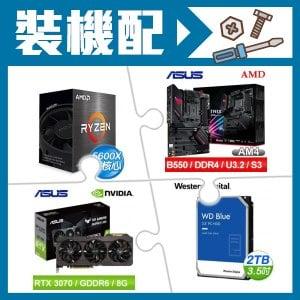 AMD R5 5600X+華碩 B550-F (WI-FI)主機板+華碩 RTX3070 顯示卡+WD 藍標 2TB 硬碟