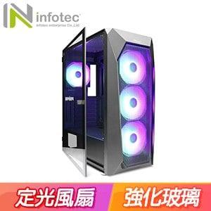 Infotec 英富達 T90 玻璃透側 ATX電腦機殼《黑》
