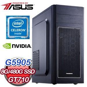 華碩系列【星光震擊IX】G5905雙核 GT710 影音電腦(8G/480G SSD)