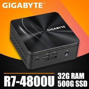 技嘉系列【mini三角龍】R7-4800U八核 迷你電腦(32G/500G SSD)《BRR7H-4800》