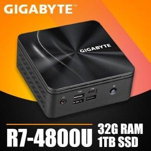 技嘉系列【mini暴龍】R7-4800U八核 迷你電腦(32G/1T SSD)《BRR7H-4800》