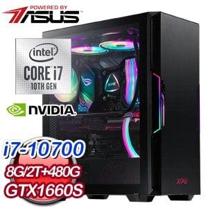 華碩系列【聖火令神功】i7-10700八核 GTX1660S 電玩電腦(8G/480G SSD/2T)