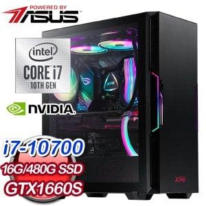 華碩系列【落英神劍】i7-10700八核 GTX1660S 電玩電腦(16G/480G SSD)