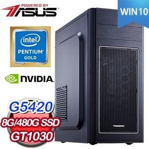 華碩系列【黃金10號-Win 10】G5420雙核 GT1030 影音電腦(8G/480G SSD)