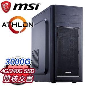 微星系列【天堂13號】AMD 3000G雙核 文書電腦(4G/240G SSD)