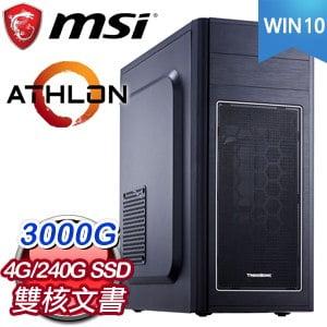 微星系列【天堂13號-Win 10】AMD 3000G雙核 文書電腦(4G/240G SSD/Win 10)