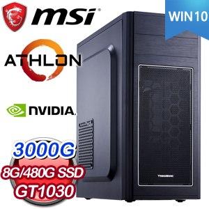 微星系列【天堂22號-Win 10】AMD 3000G雙核 GT1030 影音電腦(8G/480G SSD/Win 10)