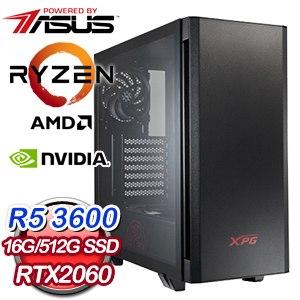 華碩系列【聖劍8號】AMD R5 3600六核 RTX2060 電玩電腦(16G/512G SSD)
