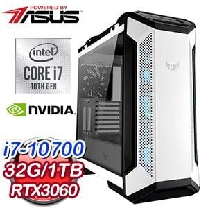 華碩系列【亮銀槍】i7-10700八核 RTX3060 電玩電腦(32G/1T SSD)