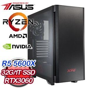 華碩系列【百步穿楊箭】R5 5600X六核 RTX3060 電玩電腦(32G/1T SSD)