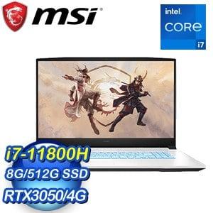 MSI 微星 Sword 17 A11UC-043TW 17吋電競筆電(i7-11800H/8G/RTX3050-4G/512G SSD/Win10)