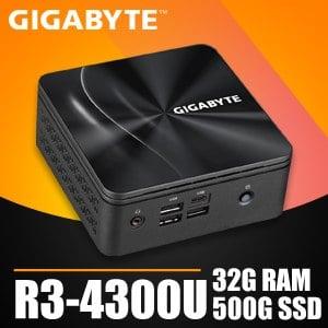 技嘉系列【mini白鯨】R3-4300U四核 迷你電腦(32G/500G SSD)《BRR3H-4300》
