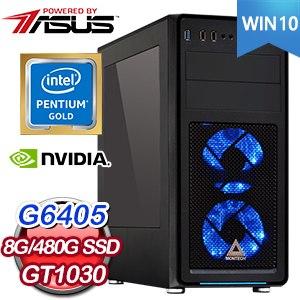 華碩系列【鑽石10號-Win 10】G6405雙核 GT1030 影音電腦(8G/480G SSD)