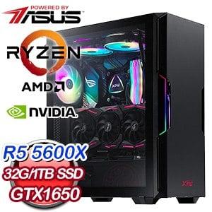 華碩系列【波幻迷掌G】AMD R5 5600X六核 GTX1650 電玩電腦(32G/1T SSD)