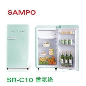 SAMPO 聲寶 99L歐風美型冰箱 SR-C10(E)香氛綠